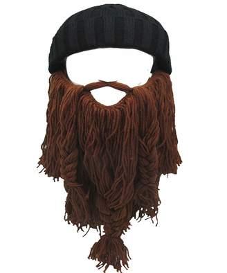 b1932b6044da8 Flyou Adult Viking Beard Beanie Horn Hat Winter Warm Mask Knitted Wool  Funny Skull Cap