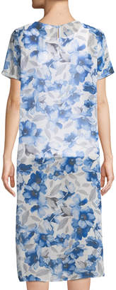 Iconic American Designer Floral Chiffon Short-Sleeve Tunic