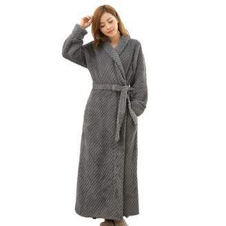 Artfasion Womens Long Robe Comfy Warm Soft Spa Plush Bathrobe Sleepwear for  Ladies 99a2eb01f