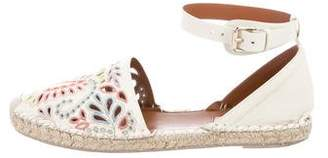 Valentino Leather Round-Toe Espadrilles