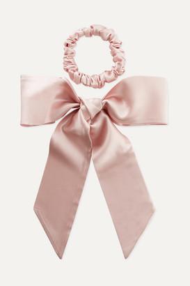 Slip Silk Ribbon And Hair Tie Set - Baby pink