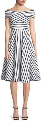 Milly Jill Striped Off-the-Shoulder Dress