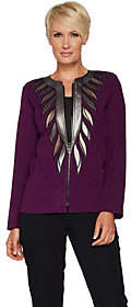 Bob Mackie Bob Mackie's Faux Leather Trim Zip Front Jacket