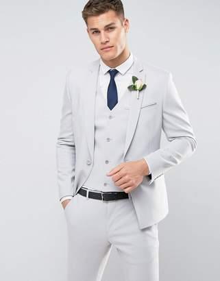 Asos DESIGN Wedding Skinny Suit Jacket With Square Hem In Gray