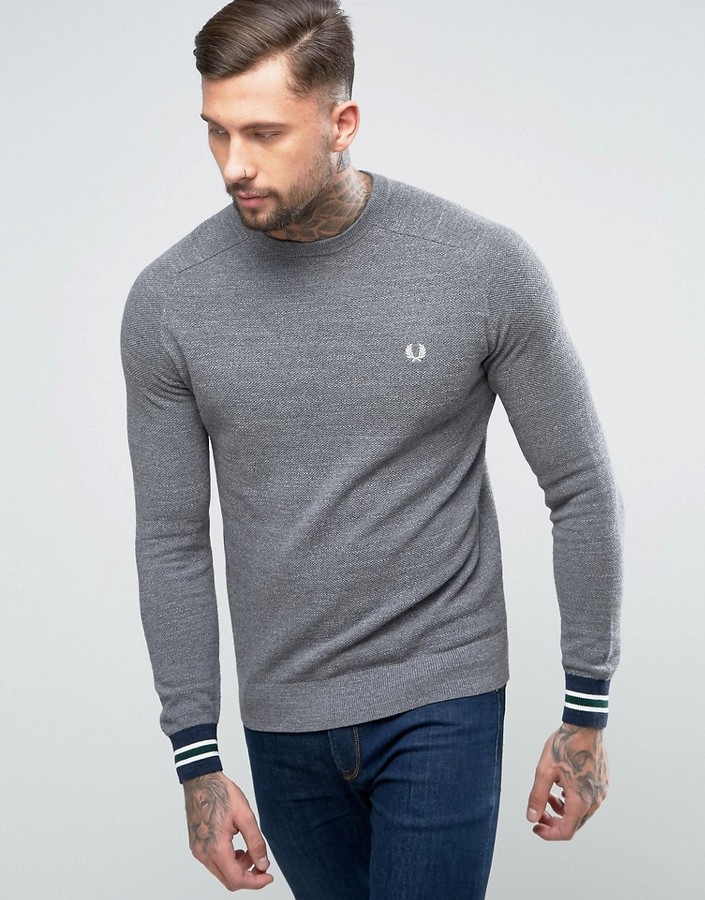 Fred Perry Fred Perry Textured Crew Sweater Bomber Tipped in Gray