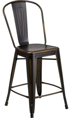 Williston Forge Williston Forge 24'' High Distressed Copper Metal Indoor-Outdoor Counter Height Stool With Back Williston Forge