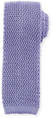 Ralph Lauren Silk Knit Flat-End Skinny Tie, Periwinkle