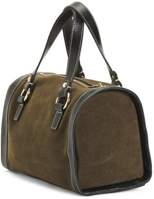 Suede Mini Duffel With Leather Trim
