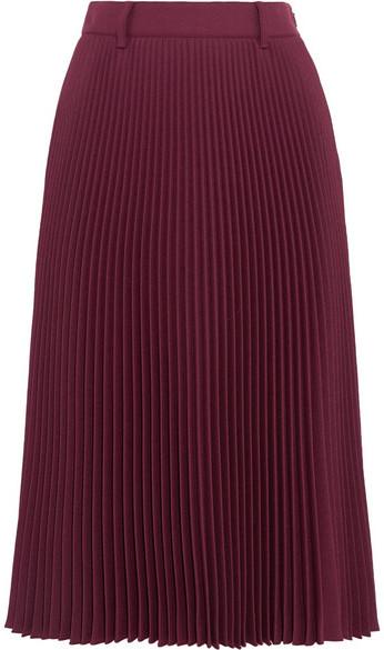Prada - Plissé-twill Midi Skirt - Burgundy