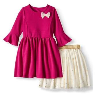 FOREVER ME Textured Knit Bow Dress & Tulle Tutu Skirt, 2-Piece 2-in-1 Outfit Set (Little Girls)