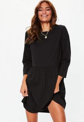 Missguided Black Plain Long Sleeve Smock Dress