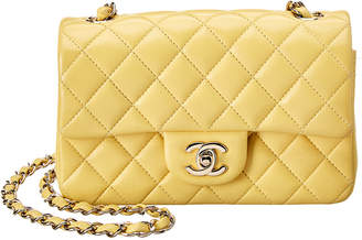 Chanel Yellow Quilted Lambskin Leather Small Half Flap Bag