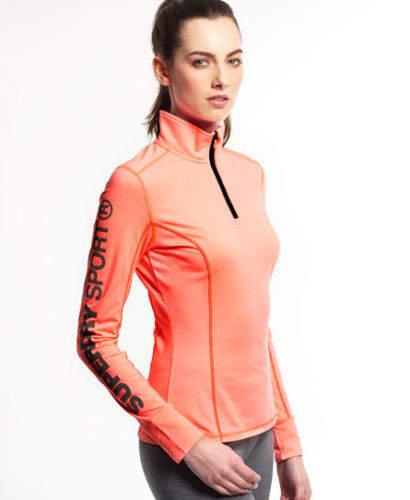 Neues Damen Gym Half Zip Trainingsshirt Fluro Coral Grit