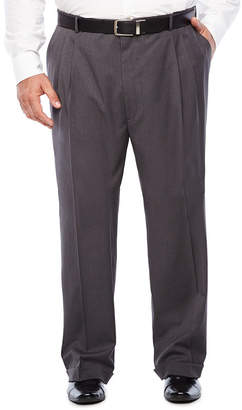 STAFFORD Stafford Medium Grey Travel Woven Suit Pleated Pants-Portly