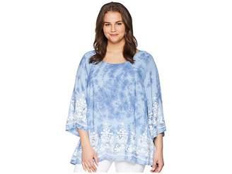 Karen Kane Plus Plus Size Embroidered 3/4 Sleeve Top Women's Clothing
