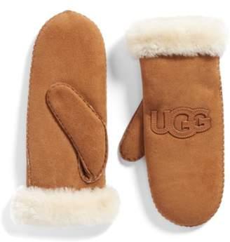 UGG Heritage Logo Genuine Shearling Mittens