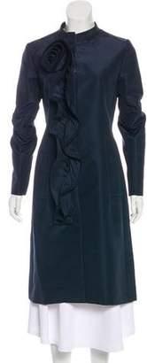 Oscar de la Renta Ruffled Silk Coat