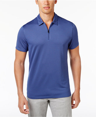 Alfani Men's Grid-Pattern Zip Polo, Only at Macy's $45 thestylecure.com