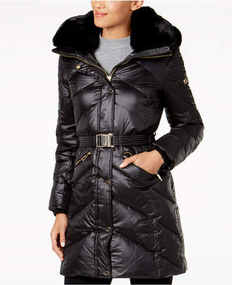MICHAEL Michael Kors Faux-Fur-Trim Belted Down Coat