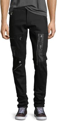 Zip-Embellished Slim-Leg Jeans