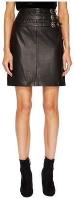 The Kooples Leather Skirt with Buckle Details and Front Slit Women's Skirt
