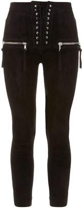 Unravel Lace-Up Suede Skinny Trousers