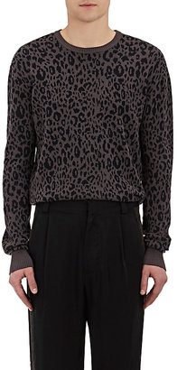 Robert Geller Men's Leopard-Jacquard Cotton-Silk Sweater $545 thestylecure.com