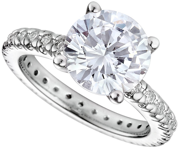 Crislu Ring, Platinum Over Sterling Silver Solitaire Cubic Zirconia Ring (3-3/4 ct. t.w.)