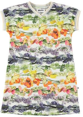 Molo California Floral-Print V-Neck Dress, Size 2T-12