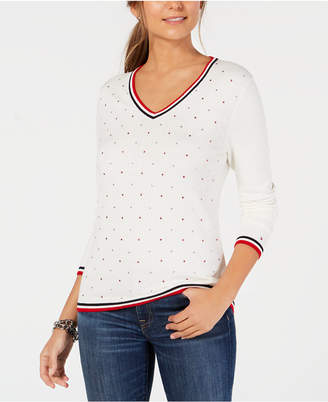 Tommy Hilfiger Cotton Star-Embellishment V-Neck Sweater, Created for Macy's