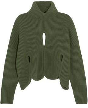 Antonio Berardi Cropped Cutout Wool And Cashmere-Blend Turtleneck Sweater