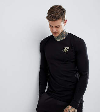 SikSilk long sleeve t-shirt in black with gold logo exclusive to ASOS