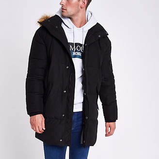 River Island Black longline faux fur hooded parka jacket