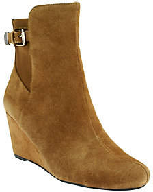 Isaac Mizrahi Live! Suede Wedge Ankle Bootswith Buckle