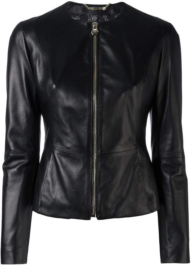 Philipp Plein fitted leather jacket