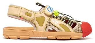 Gucci Leather And Mesh Sandals - Mens - Beige