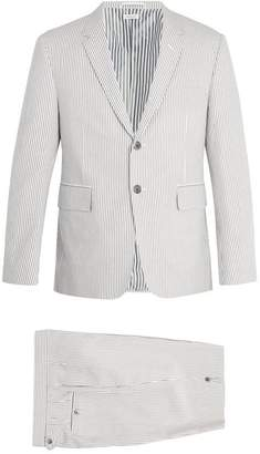 Thom Browne Single Breasted Striped Cotton Seersucker Suit - Mens - Grey