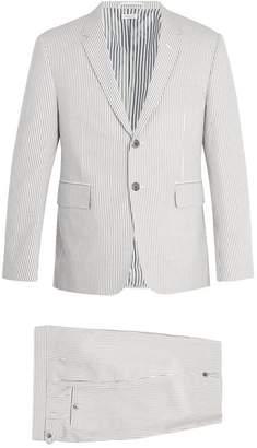 Thom Browne Single Breasted Striped Cotton Seersucker Suit - Mens - Grey