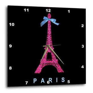 3dRose Hot Pink Paris Eiffel Tower from France with girly blue ribbon bow - Black Stylish Modern France, Wall Clock, 13 by 13-inch