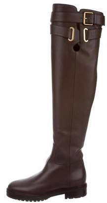 Valentino Round-Toe Over-The-Knee Boots