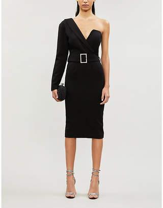 Lavish Alice Asymmetric belted stretch cotton-blend midi dress