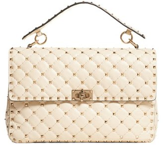 Valentino Rockstud Quilted Leather Shoulder Bag - White $3,195 thestylecure.com