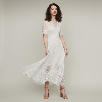 Maje Long Swiss dot dress with daisy lace