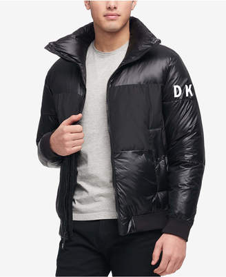 DKNY Men's Mixed Media Puffer Bomber Jacket