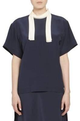 Chloé CDC Short Sleeve Neck Tie Blouse