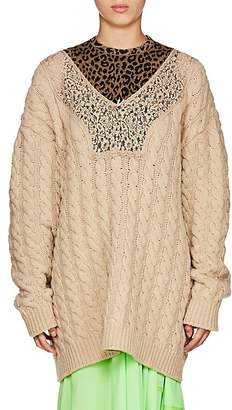 Balenciaga Women's Cable-Knit Wool-Blend Oversized Sweater
