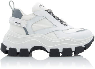 Prada Leather And Rubber Platform Sneakers