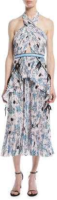 Self-Portrait Self Portrait Cross-Front Pleated Floral Halter Dress