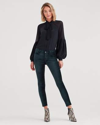 7 For All Mankind Velvet Ankle Skinny in Blackended Emerald
