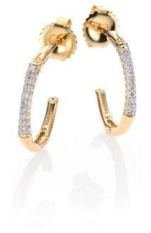 John Hardy Bamboo Extra Small Diamond & 18K Yellow Gold Hoop Earrings